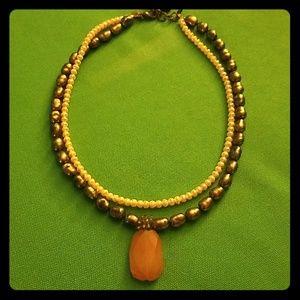 David Aubrey vintage pearl and peach agate necklac